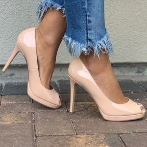 Parent Nude Peep Toe Stiletto Towering Heel Pump